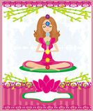 Yoga lotus pose. Padmasana with colored chakra points. Stock Image