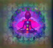 Yoga lotus pose. Padmasana with colored chakra points. Royalty Free Stock Photos