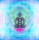 Yoga lotus pose. Padmasana with colored chakra points. Royalty Free Stock Photo