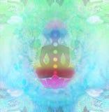 Yoga lotus pose. Padmasana with colored chakra points. Yoga lotus pose. Padmasana with colored chakra points, raster illustration Royalty Free Stock Photo