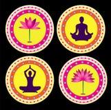 Yoga lotus posture. Illustration style Stock Photo