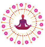 Yoga lotus posture icon Stock Photos