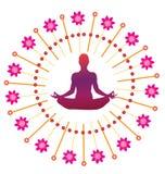 Yoga lotus posture icon. Illustration style Stock Photos