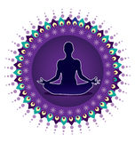 Yoga lotus posture icon. Illustration style Stock Image