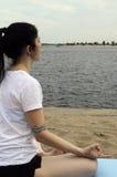 Yoga lotus river Royalty Free Stock Images