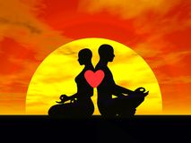 Yoga love - 3D render Royalty Free Stock Photography
