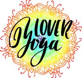 Yoga lover dry brush lettering on mandala pattern. Yoga lover modern dry brush lettering on mandala pattern background. Yoga typography poster. Vector Royalty Free Stock Photo