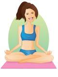 Yoga-Mädchen-/Lotos-Haltung Stockfotos