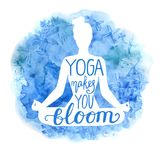 Yoga makes you bloom lettering poster Stock Image