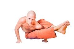Yoga. Man in  asana, isolated on white Royalty Free Stock Photos
