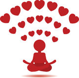 Yoga man icon.Wi-Fi red hearts hot spot concept. Royalty Free Stock Images