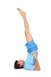 Yoga man with legs up Royalty Free Stock Image