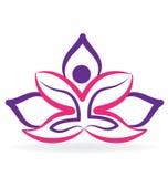 Yoga man with lotus flower logo. Yoga lotus purple flower logo vector design Royalty Free Stock Image