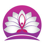 Yoga man lotus logo. Yoga man lotus white flower vector logo identity card design Royalty Free Stock Images