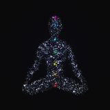 Yoga man in lotus pose with chakras made of polygons. Yoga man in lotus pose with chakras made of polygonal elements, glowing dots and particles for your design royalty free illustration