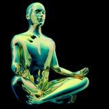 Yoga man lotus pose stylized figure chrome green sparkling. Glossy colorful reflection. Human mental guru character. Peaceful meditate gold symbol. 3d royalty free illustration