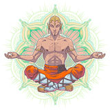 Yoga man in a lotus position. Royalty Free Stock Photo
