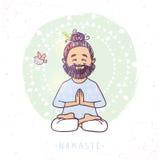 Yoga man namaste Stock Photo