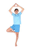 Yoga man on one leg Stock Images