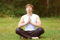 Yoga man relaxation Stock Photography
