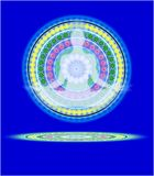Yoga mandala II. Human figure sitting in yoga position on a blue background with a mandala