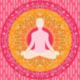 Yoga Mandala Sitting Pose Human Silhouette Pink White Orange Stock Image
