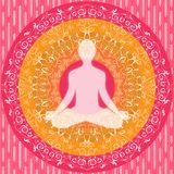 Yoga mandala sitting pose human silhouette pink white orange Stock Image