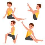 Yoga Mannelijke Vector Het uitrekken zich en het Verdraaien practicing Het spelen in Verschillend stelt Mens Geïsoleerd op Wit Be vector illustratie