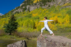 Yoga at Maroon Bells in Autumn Royalty Free Stock Image