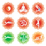 Yoga massage alternative medicine icons. Stock Images