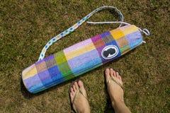 Yoga mat bag. Fashionable yoga mat bag with camei Stock Images