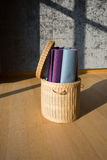 Yoga mat in the basket Royalty Free Stock Image