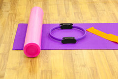 Yoga mat and cushion Stock Photography
