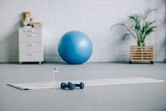 Yoga mat, dumbbells, plastic bottle of water and fitness ball in living room Stock Photo