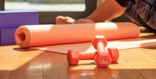 Yoga mat and dumbbells on wooden floor Royalty Free Stock Image