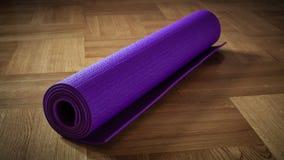 Yoga mat on floor Stock Photos