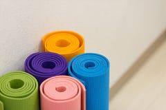 Yoga mat. Gymnastics and exercise iamge Stock Image
