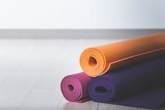 Yoga mat. Gymnastics and exercise iamge royalty free stock photos