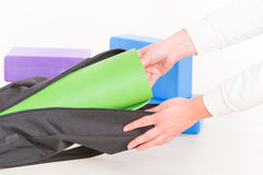 Yoga mat inside a special yoga bag Royalty Free Stock Photo