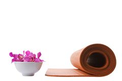 Yoga Mat and Orchid Royalty Free Stock Image