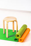 Yoga mats and chairs. Gymnastics Royalty Free Stock Image