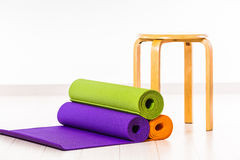 Yoga mats and chairs. Gymnastics Stock Photos