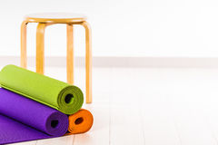 Yoga mats and chairs. Gymnastics Royalty Free Stock Photo