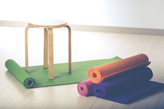 Yoga mats and chairs. Gymnastics Royalty Free Stock Images