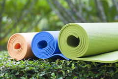 Yoga mats. The colorful yoga mats are set on grass Stock Images
