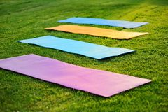 Yoga mats on the green grass. Four yoga mats on the green with fresh grass Stock Photos