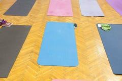 Yoga mats in studio Stock Images