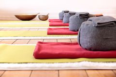 Yoga mats and Yoga Cushion Royalty Free Stock Photo