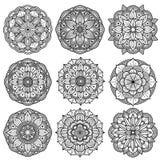 Yoga medallions, meditation mandalas, arabesque pattern vector set Stock Images