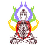 Yoga meditating in lotus asana icon Royalty Free Stock Images